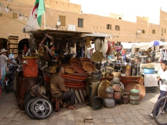 An odd assortment of kitchen pots, pans and bowls for sale in Ghardaia's main market