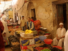 Vendors selling vegetables and fruits abound in Ghardaia