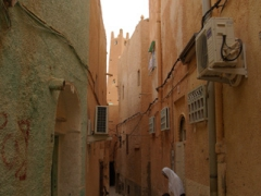 Narrow alleyway in El Atteuf (local custom prevents doors being built opposite each other, forcing entrances to be staggered)