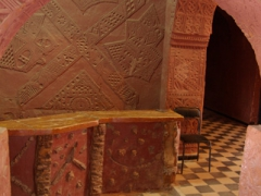 The old reception desk at the Hotel de l'Oasis Rouge; Timimoun