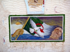 Wall mural depicting Algerian independence and peace; El Oued