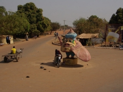 We aren't sure what the significance of this weird shell statue is, but there were several of them on the road towards Bobo-Dioulasso