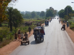 Typical traffic on Burkina Faso's well paved roads