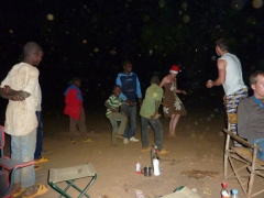 Local kids joining our group for a danceathon session; campsite near the Karfiguela Cascades
