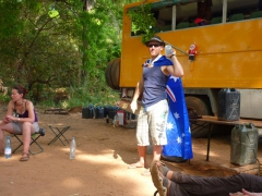 Lucky dons an Aussie flag on Christmas; Karfiguela campsite