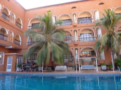 The inviting pool at L'Auberge, a colonial-style hotel in Bobo-Dioulasso