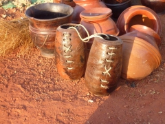 Some of the unique earthenware vessels on display at Bobo's Marche de Poterie