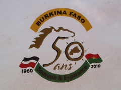 Burkina Faso's 50 year anniversary signs are strewn everywhere in the country
