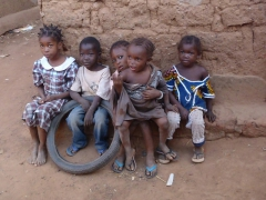 Portrait of well behaved children in the old village of Kibidoue