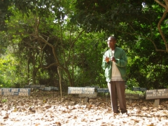 Our Boabeng-Fiema monkey sanctuary guide at the monkey gravesite
