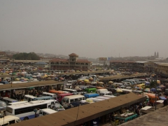 Hundreds of tro-tros and public buses at a parking lot in Kumasi