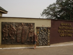 Robby standing at the entrance to Ghana's National Cultural Center in Kumasi