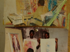 Photos of Joel, the disabled painter who paints with his mouth; Ghana National Cultural Center
