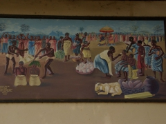 Painting of a traditional Ghanaian village scene; Ghana National Cultural Center