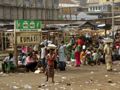 Vendors have overtaken the old Kumasi train station and converted it into a massive, open air market