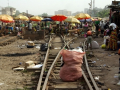 Train tracks leading to Kumasi's now defunct train station