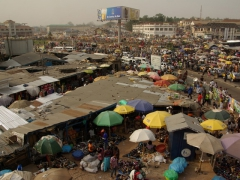 Bird's eye view overlooking Kumasi market