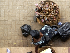 Ghanaian style escargots for sale (check out the massive snails!); Kumasi central market