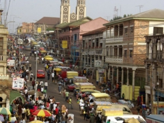 Kumasi cathedral overlooking the central market