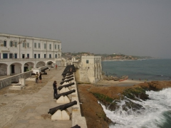 Cape Coast Castle cannons protecting the waterfront