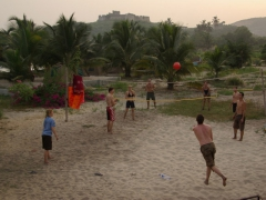 An impromptu game of volleyball at the Relax-Abandze Beach Resort