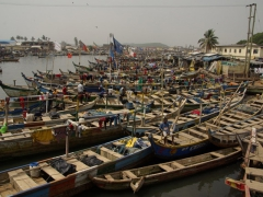 Colorful fishing vessels crowd the harbor near Elmina Castle
