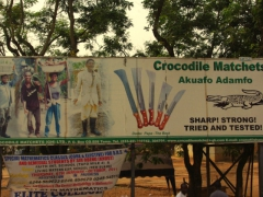 Billboard for crocodile machetes