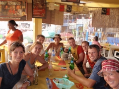 Group photo of us taking a break in an Accra bar/cafe