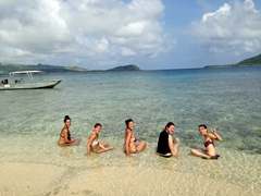 Rashi, Patri, Becky, Nerea and Marie soaking up the beauty of Sawa-i-Lau island