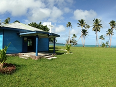 A blue church beckons us for church service - we had a kava ceremony to attend to and had to reluctantly decline