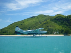 A sea plane transports guests to Blue Lagoon Beach Resort - what a way to arrive!