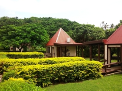 Lush garden bungalows at Coral View resort