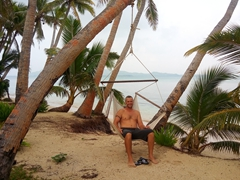 Robby relaxing in a hammock at Coconut Beach Resort; Tavewa Island