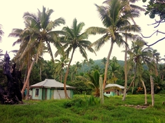 Local dwellings sandwiched between Coral View and Coconut Beach resorts on Tavewa Island