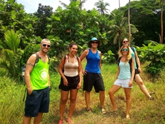 Getting ready to hike to the top of Tavewa Island with Rashi, Patri and Nerea