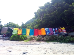 Colorful sulu (skirt or wrapped cloth) for sale; Sawa-i-Lau island