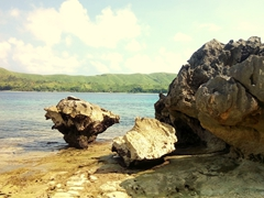 Limestone rock formations; Sawa-i-Lau island