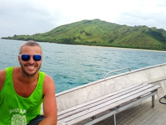 Robby smiling on our free interisland shuttle from Coral View to Blue Lagoon Beach Resort