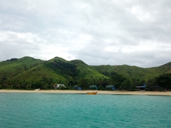Our first glimpse of the wide sandy beach of Blue Lagoon beach resort; Nacula Island