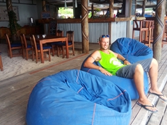 Relaxing in comfy bean bag chairs; Blue Lagoon beach resort