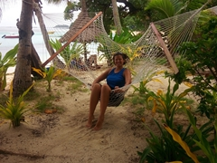Becky making herself comfortable at Blue Lagoon Beach Resort