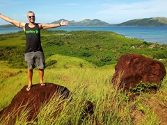 Robby soaking up the vista of the Yasawa Islands from Nacula's hill top