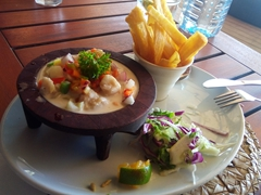 "The food at Blue Lagoon Beach Resort is excellent! This is a dish of ""kokoda"" (raw fish marinated in lolo and lime juice)"