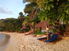 Comfortable lounging chairs; Blue Lagoon Beach Resort