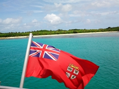 Yasawa Flyer flag as we make our way from the Yasawa Island chain to the Mamanuca Island chain