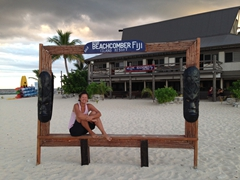 Becky sits in the Beachcomber picture frame