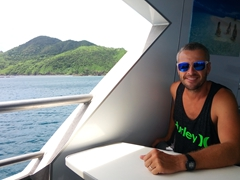 Robby enjoying the view on South Sea Cruises as we make our way from Yasawa to Mamanuca