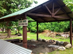Lovo shed (where delicious dishes of chicken, fish or pork are cooked); Bounty Island Resort