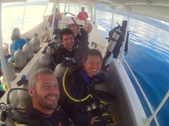 Getting ready to dive Rainbow Reef with Taveuni Ocean Sports