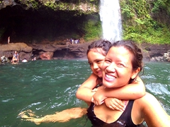 Gracie and Becky take a dip in the swimming pool of the waterfall; Tavoro